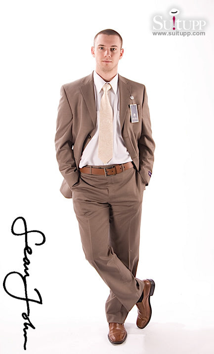 Sean John Light Brown on Brown Pinstripe 2 Piece Suit