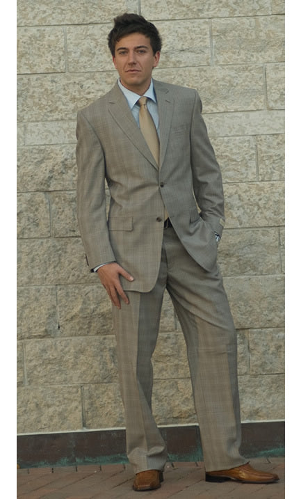 Ralph Lauren Beige Windowpane 2-Piece Suit