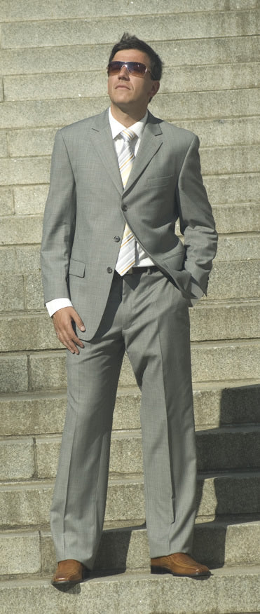 Ralph Lauren Grey Sharkskin Style 2-Piece Suit