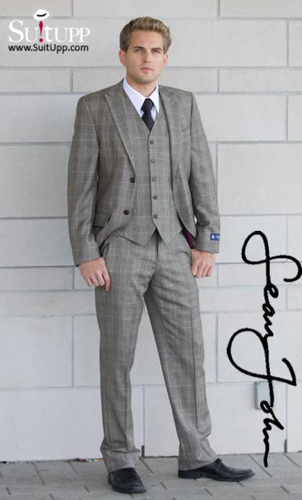 Sean John - Brown Tan Plaid - Three Piece Suit