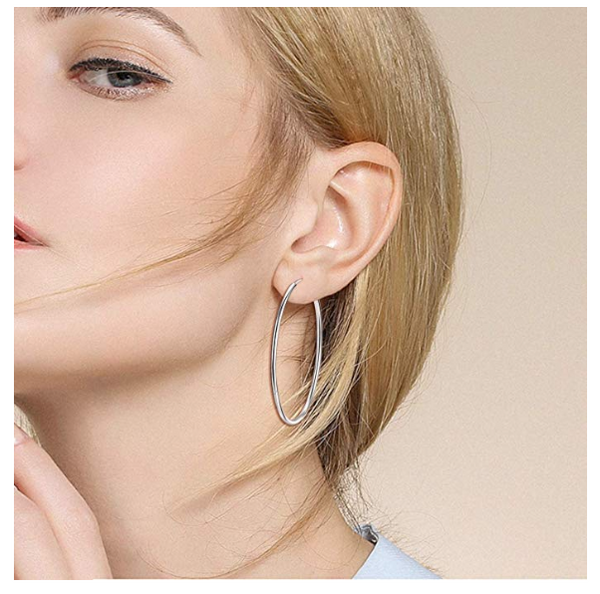 Sterling Silver Fine Hoop Earrings Circle Endless Loop