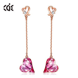 CDE Women Heart Drop Earrings Embellished with Crystals from Swarovski