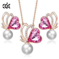 CDE Embellished with crystals from Swarovski Butterfly Heart Necklace And Earring Set