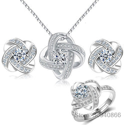 Eternal Love 925 Sterling Silver Cubic Zirconia Knot Cross Clover Flower Necklaces