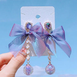 Purple Crystal Bowknot Drop Earrings