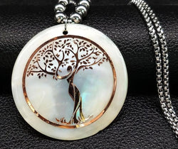 Shell Stainless Steel Statement Necklace Ladies Tree Of Life