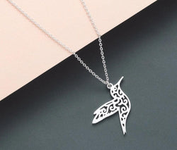 Stainless Steel Hummingbird Necklace Hollow Bird Pendants Necklaces Minimalist