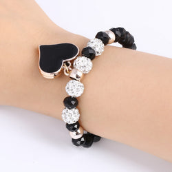 Romantic Vintage For Women Heart Pendant Bracelets with Bling Crystal Beads