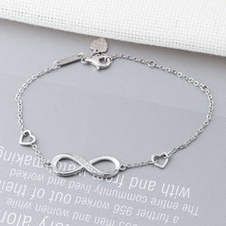 925 Sterling Silver Cubic Zirconia Paved Adjustable Infinity Bracelets