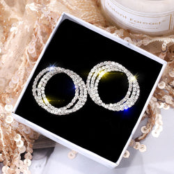 Circle Stud Earrings Luxury Gold Silver Rhinestone Crystal Earring Women