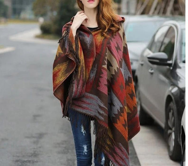 Women Winter Boho Hooded Coat Cape Poncho ladies Shawls wrap