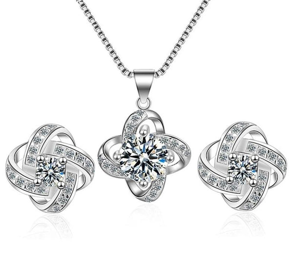 925 Sterling Silver Eternal Love Necklaces Cubic Zirconia Knot Pendant Set