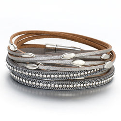 Multi-Layer Leather Bracelet Beads Wrap Cuff Bangle for Women Girls