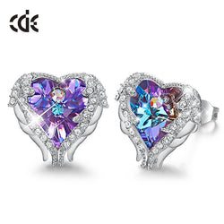 CDE Stud Earrings Embellished with Crystals Swarovski Angel Wing Heart Earring