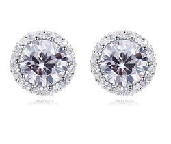CDE 925 Sterling Silver Woman Stud Earrings with Crystals from Swarovski Round Charm Earring