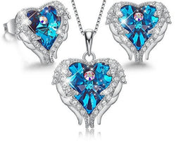 CDE 925 Sterling Silver Crystals from Swarovski Necklace Earring Set Angle Wings Heart