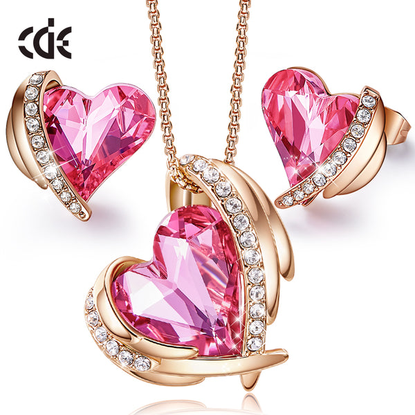 CDE Women Gold Jewellery Set Embellished with Crystals from Swarovski