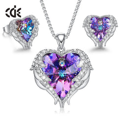 Angel Wings Heart Necklace Earring Embellished with Crystals from Swarovski Ladies