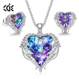 CDE Angel Wings Heart Necklace Earring Embellished with Crystals from Swarovski