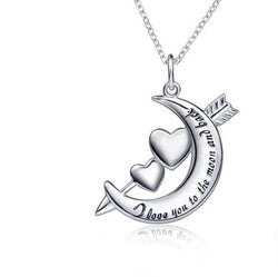 925 sterling silver I love you to the moon and back chain necklace and pendant