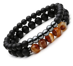 2pcs Men Women Bracelets Triped Agates Matte Black Onyx Beads Bracelet