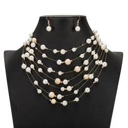 Gold Multi Layer Chains Imitation Pearl Necklace Jewellery Sets