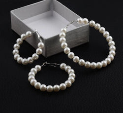 Pearl Hoop Earrings for Women