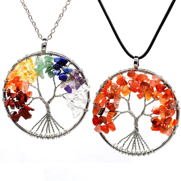 7 Chakra Quartz Natural Stone Tree of Life pendulum Pendant Necklace Women
