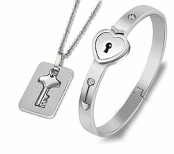 Love Heart Lock Bracelets Bangles Key Pendant Necklace Couples Set