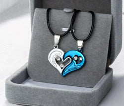 1 pair Heart Shape I Love You Pendant Necklace Unisex Lovers Couples
