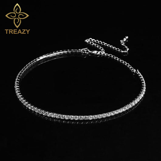 TREAZY Bridal Wedding Prom 1-5 Row Rhinestone Choker Chain Necklace for Women