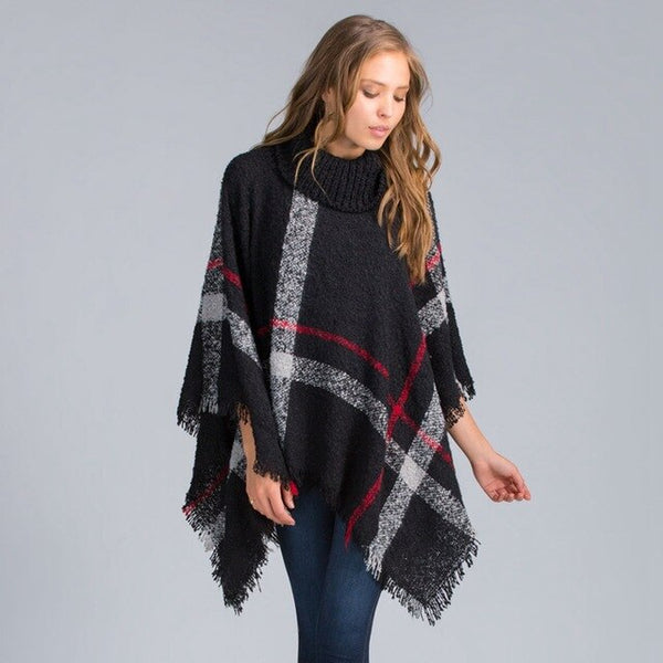 Plus Size Winter Warm Women's Wool Turtleneck Plaid Poncho