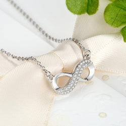 925 Sterling Silver Crystal Infinity Pendant Necklace Forever Link Chain Necklace