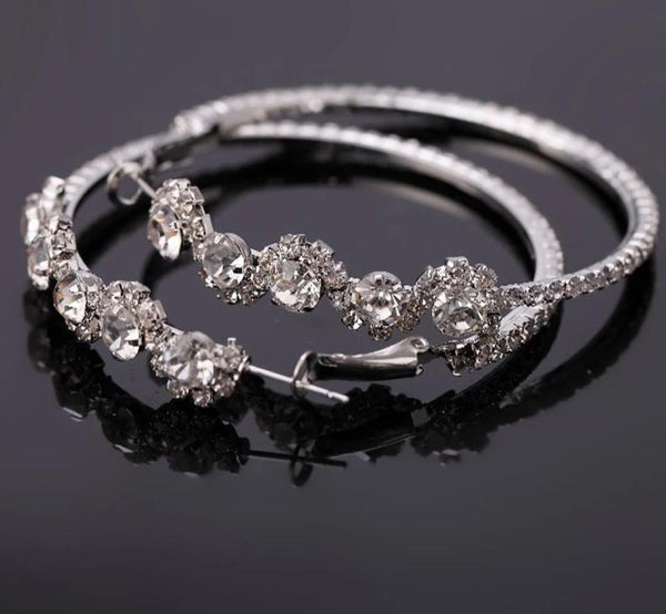 Super Flash Crystal Rhinestone Silver Plating Big Size Hoop Earrings