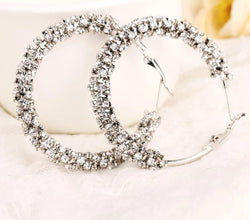 Crystal Big Hoop Earring Rhinestone Earrings