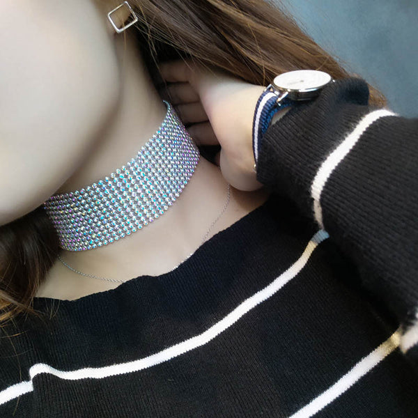 Women Choker Necklace Full Crystal Rhinestone Collar Choker