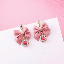 Pink Bowknot Dangle Earrings