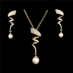 Vintage Pearl Pendant Necklace Earring Gold jewellery Crystal Set
