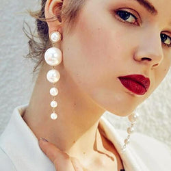 Elegant Pearl Long Drop Earrings