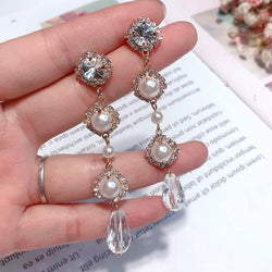 Elegant Pearl Rhinestone Earrings