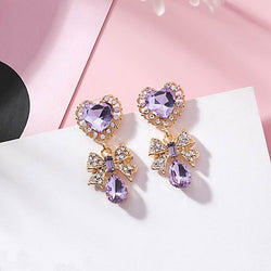 Crystal Heart and Bow Earrings