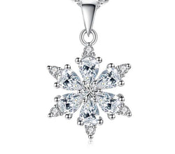 Sterling Silver Snowflake Pendant Necklace Blue and White