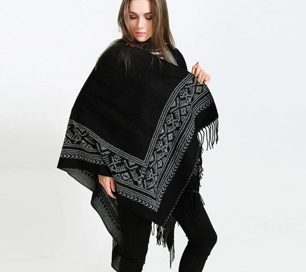 New Women fashion black grey tassel wrap shawl blanket scarf