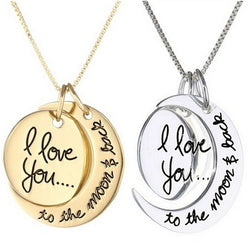 I Love You To The Moon And Back Silver Gold Necklace