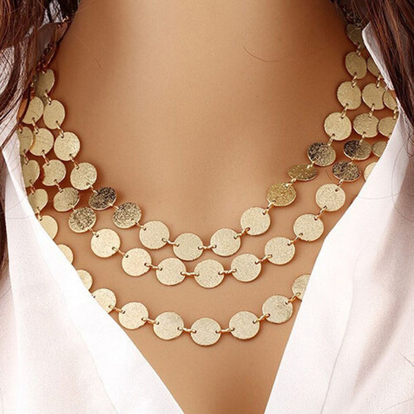 Gold Silver Color Multilayer Sequins Statement Bib Chokers Necklaces Women
