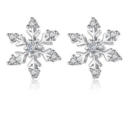 925 Silver Zircon Snowflake Stud Earrings For Women