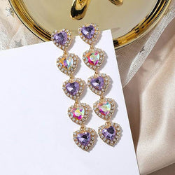 Love Heart Rhinestone Earrings