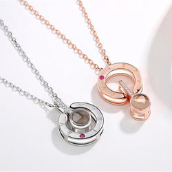 Rose Gold & Silver 100 languages I love you Projection Pendant Necklace