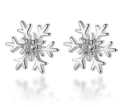 925 Sterling Silver Hollow Snowflake Zircon Flower Stud Earrings