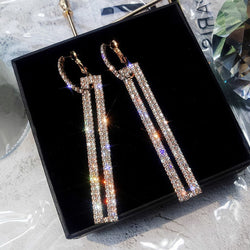 Long Geometric Drop Earrings Luxury Gold Silver Rhinestone Earring for Women